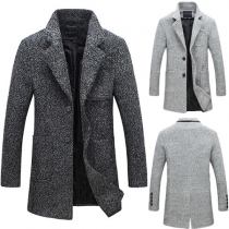 Fashion Long Sleeve Single-breasted Men's Woolen Coat