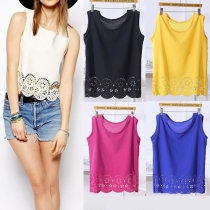 Fashion Solid Color Hollow Out Hem Sleeveless Chiffon Tops
