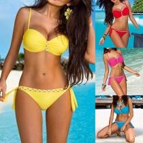 Sexy Bikini de Push-up con Relleno y Aro + Brasileña de Tira