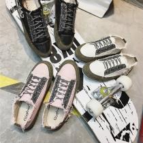 Zapatos de lona con cordones de tacón bajo con punta redonda y estilo relajado