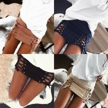 Mini Falda de Ante Sintético con Cordones de Talle Alto