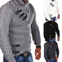 Jersey de color sólido con manga larga para caballeros