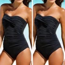 Sexy bañador sin mangas y color sólido