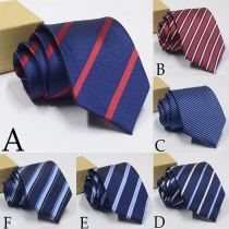 Moderna Corbata de Rayas de Colores en Contraste para Hombres