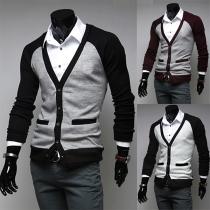Chaqueta de punto ajustada con mangas cortas y cuello en V para hombres
