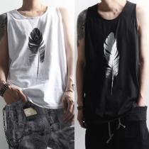 Camiseta impresa sin mangas para hombres