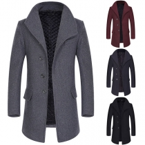 Fashion Solid Color Long Sleeve Single-breasted Men's Woolen Coat