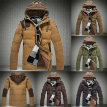 Fashion Contrast Color Long Sleeve Hooded Men's Down Coat
