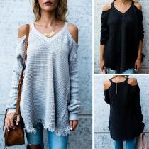 Sexy Off-shoulder Long Sleeve V-neck Tassel Hem Loose Sweater