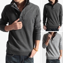 Fashion Long Sleeve Plaid Spliced Stand Collar Men's Knit Top