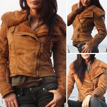Fashion Solid Color Long Sleeve Oblique Zipper Warm Jacket