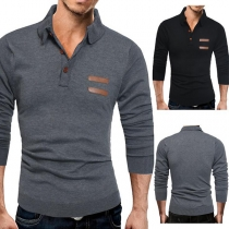 Fashion Solid Color Long Sleeve POLO Collar Men's Knit Top