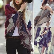 Fashion Contrast Color Tassel Trim Plaid Scarf Shawl