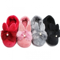 Cute Solid Color Rabbit Ear Plush Lining Anti-slip Cotton Slippers