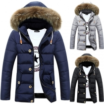 Fashion Solid Color Long Sleeve Faux Fur Spliced Hooded Men'sPadded Coat
