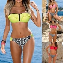 Sexy Bikini con Bandeau de Volantes con Relleno y Aro + Brasileña Estampada