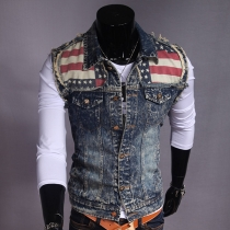 Fashion POLO Collar Single-breasted Printed Ripped Men's Denim Vest