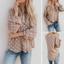 Fashion Dots Printed Long Sleeve V-neck High-low Hem Blouse
