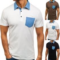 Blusa de Bicolor de POLO Escote Manga Corta de Caballero