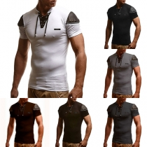 Fashion Contrast Color Short Sleeve Stand Collar Men's T-shirt