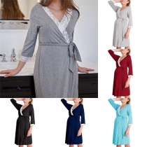 Sexy Lace Spliced V-neck 3/4 Sleeve Maternity Dress