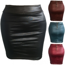 Mini Falda de Cuero Sintético de Talle Alto