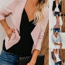 Fashion Solid Color Long Sleeve Lapel Slim Fit Jacket