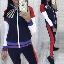 Fashion Contrast Color Bowknot Printed Sweatshirt + Pants Sports Suit