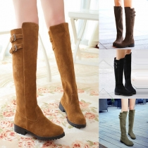 Fashion Flat Heel Round Toe Knee-length Boots