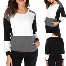 Fashion Contrast Color Round-neck Long Sleeve Side Pockets Sweatshirt