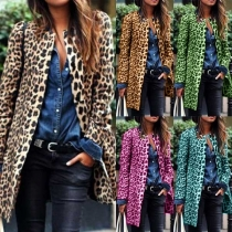 Fashion Round Neck Open Front Long Sleeve Longline Leopard Coat