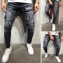Fashion Badge Patched Slim Fit Ripped Jeans for Men