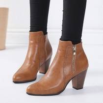 Fashion Point Toe Side Zipper Block Heel Ankle Booties