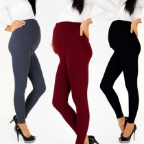Fashion Solid Color High Waist Slim Fit Pencil Pants for Pregnant Women