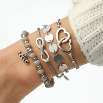 Fashion Heart Beaded Bracelet Set 4 pcs/Set