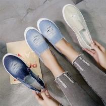 Fashion Flat Heel Round Toe Slip-on Ripped Denim Shoes