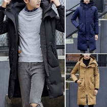 Fashion Solid Color Long Sleeve Hooded Men's Padded Coat