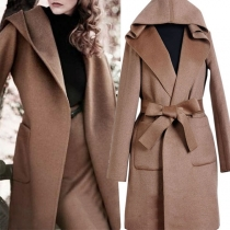 Fashion Solid Color Long Sleeve Hooded Woolen Coat with Waist Strap