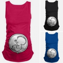 Fashion Contrast Color Round-neck Sleeveless Baby Printed Pregnant Women's Shirt