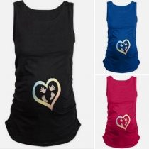 Fashion Round-neck Sleeveless Fingerprint Footed Pattern Pregnant Women's Shirt