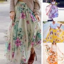 Sweet Style High Waist Printed Skirt