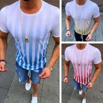 Fashion Short Sleeve Round Neck Men's Striped T-shirt