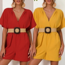Sexy V-neck Short Sleeve Solid Color Romper