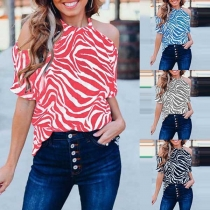 Sexy Off-shoulder Short Sleeve Printed Blouse