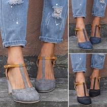 Sandalías de Tacón Grueso con Tira de Puntera Redonda