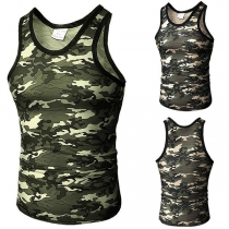 Casual Round Neck Camouflage Printed Men's Tank Top