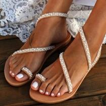 Sandalías de Correa con Perlas Sintéticas de Tacón Plano