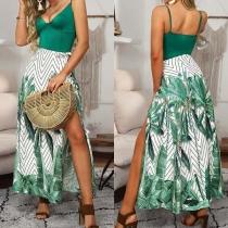 Sexy Backless V-neck Slit Hem Printed Sling Dress