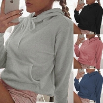 Casual Style Long Sleeve Solid Color Hoodie