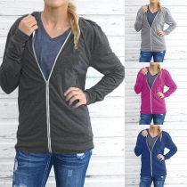 Fashion Solid Color Long Sleeve Hooded Sweatshirt Jacket